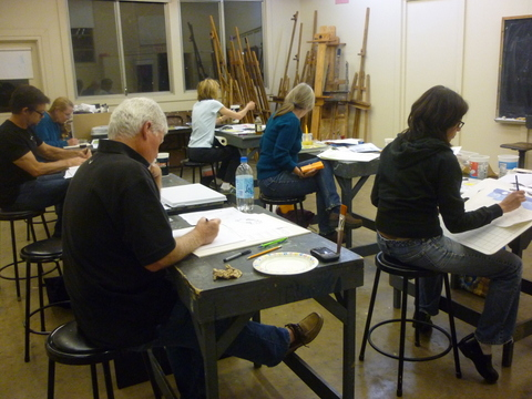 Students working in the children's book illustration class