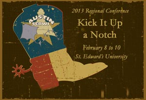 "'Kick it Up a Notch"" Austin SCBWI conference logo"
