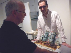 Bruce Foster and Jon Evans, Director of the Hirsch Library, Museum of Fine Arts examine a popup castle