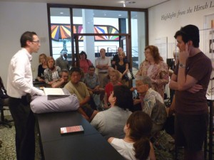 "Jon Evans, director of the Hirsch Library of the Houston Museum of Fine Arts discusses pop-up projects of modern American artists in a gallery talk, ""the Interactive Book"""